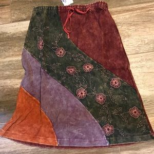 NWT BOHO Skirt -gypsy,hippie suede Patchwork look